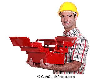 öppna, toolbox, arbetare