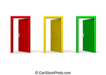 öppna, tre, dörrar, färgad