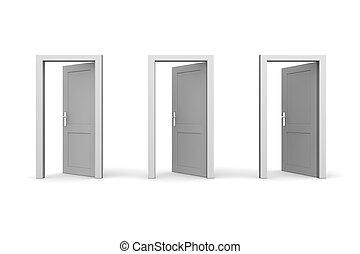 öppna, tre, dörrar, grå