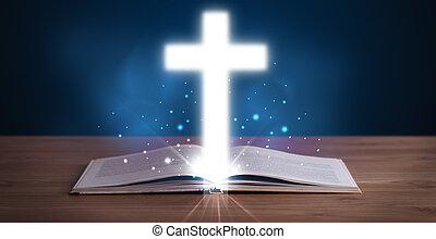 öppna, välsignad bibel, med, glödande, kors, i medel