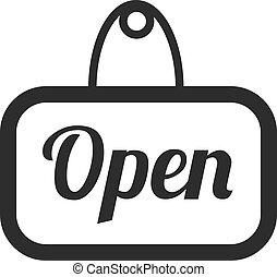 öppna, vektor, svart, underteckna, ikon