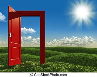 öppna, vit, dörr, ängar