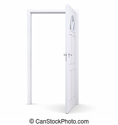 öppna, vit, dörr