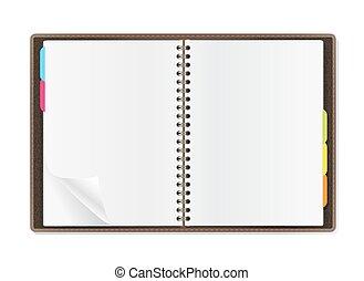 öppna, vit, dagbok, sidor, bakgrund