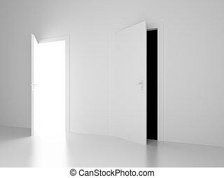 öppna, vit, framtid, svart, dörrar