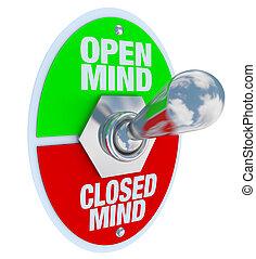 öppna, vs, stängd, själ, -, vippen kopplar