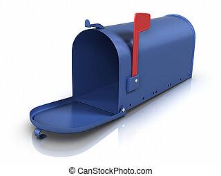 öppnat, brevlåda
