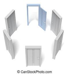 öppnat, cirkel, dörrar, stängd, en