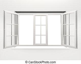 öppnat, fönster