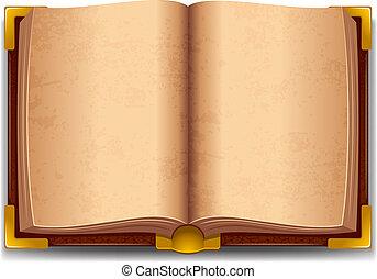 öppnat, gammal, bok