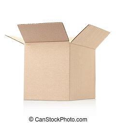 öppnat, kartong kasse
