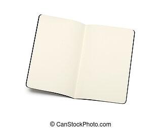 öppnat, moleskine, isolera, -, struktur, anteckning beställer, tom, mjuk, sidor