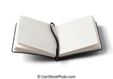 öppnat, notebook.