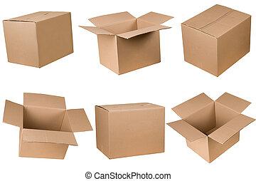 öppnat, och, stängd, kartong kasse