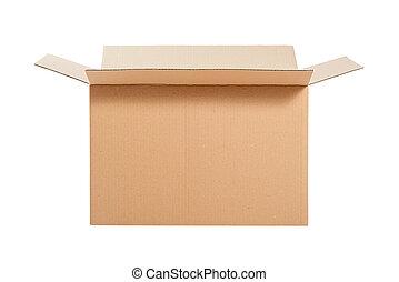 öppnat, papp, box.