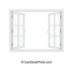 öppnat, plastisk, fönster., 3, render