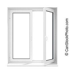 öppnat, ram, isolerat, plastisk, glas fönster, färsk