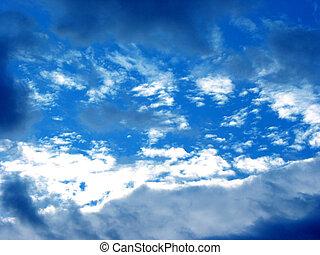 öppning, i skyarna