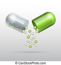 öppning, medicinsk, grön, kapsel