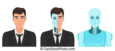 örökre, illustration., havibaj, élet, realitás, robot., vektor, emberi, orvosság, jövő, transzformáció, ember