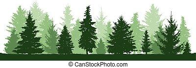 örökzöld, fenyő, toboztermő fa, fa., bitófák, silhouette., csinos, erdő, vektor, sóvárog, karácsony