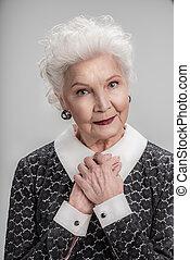öröm, figyelmes, hölgy, idősebb ember