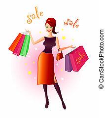 öröm, közül, bevásárlás