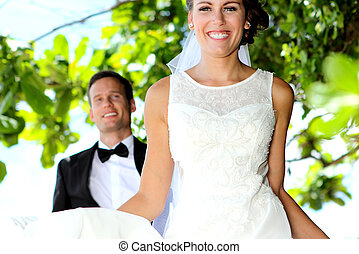 öröm, közül, newlywed, párosít
