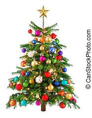örömtelien, színes, karácsonyfa