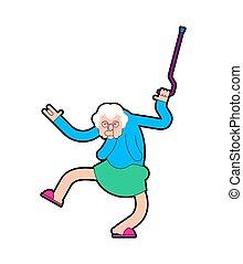 öreg, ábra, dance., nagyanya, vektor, dances., nagyanyó, cool., hölgy
