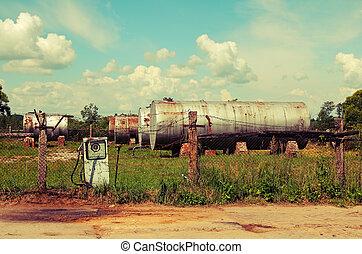 öreg, állomás, gáz