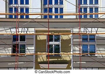 öreg épület, alatt, restaurálás