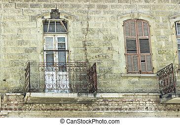 öreg, épület, erkély