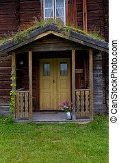 öreg, épület, fából való, belépés