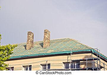öreg, épület, tető, restaurálás, megjavítás, szerkesztés