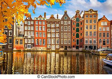 öreg, épületek, alatt, amszterdam