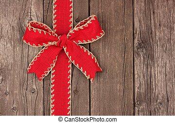öreg, íj, erdő, szalag, határ, karácsony, piros, lejtő