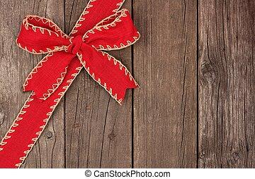 öreg, íj, erdő, szalag, sarok, határ, karácsony, piros
