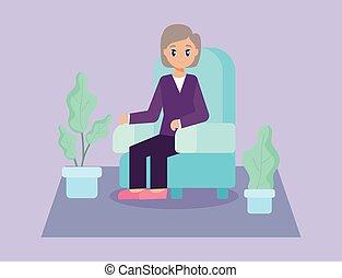 öreg, ülés, törődik, pamlag, öregedő woman