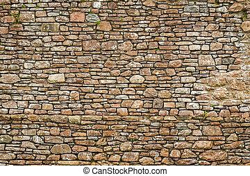 öreg, ősi, fal, elkészített, alapján, megkövez
