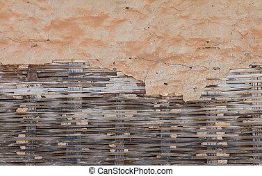 öreg, ősi, fal, elkészített, közül, erdő, és, clay.