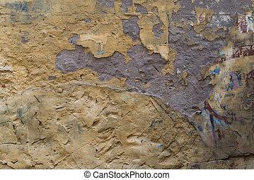 öreg, ősi, fal, struktúra, becsuk, feláll., 19, évszázad
