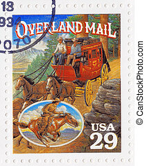 :, öreg, 1994, usa, bélyeg, overland, -, nyugat, amerikai, nyomtatott, felad, cirka, látszik