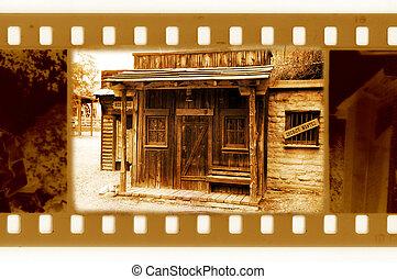 öreg, 35mm, keret, fénykép, noha, szüret, seriff, épület