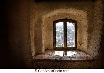 öreg, ablak
