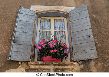 öreg, ablak, közül, provence