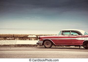 öreg, amerikai, autó, képben látható, utca, alatt, havanna