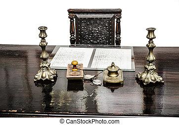 öreg, antik, íróasztal