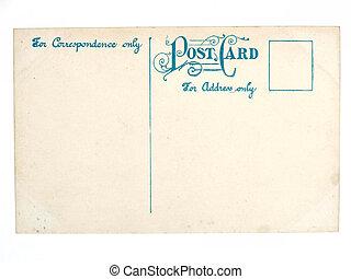 öreg, antik, üres, levelezőlap