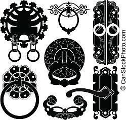 öreg, antik, ősi, ajtózár, handl